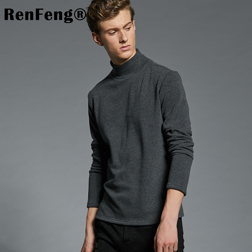 Men's Cotton Undershirts Underwear Long Sleeved Undershirt Spring Turtleneck Shirts Bodybuilding Solid Color Thermal Basic Shirt (1)