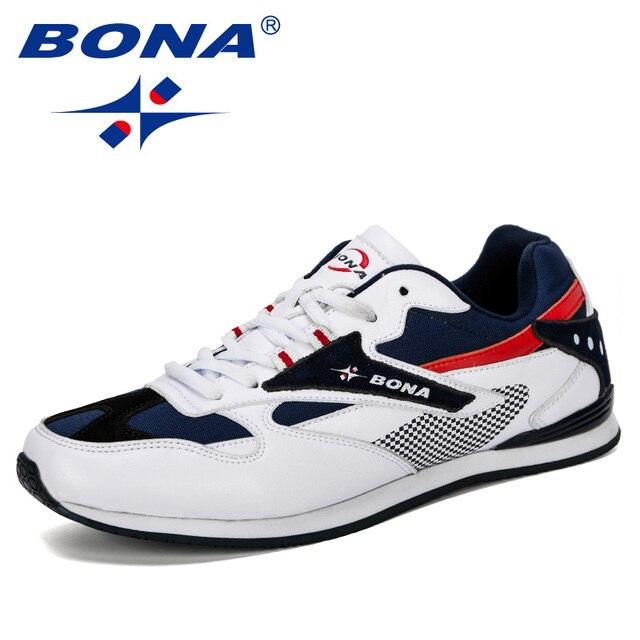 BONA 2019 yeni tasarımcı erkek Sneakers hafif nefes Zapatillas rahat ayakkabılar erkek spor ayakkabı açık Zapatos Hombre