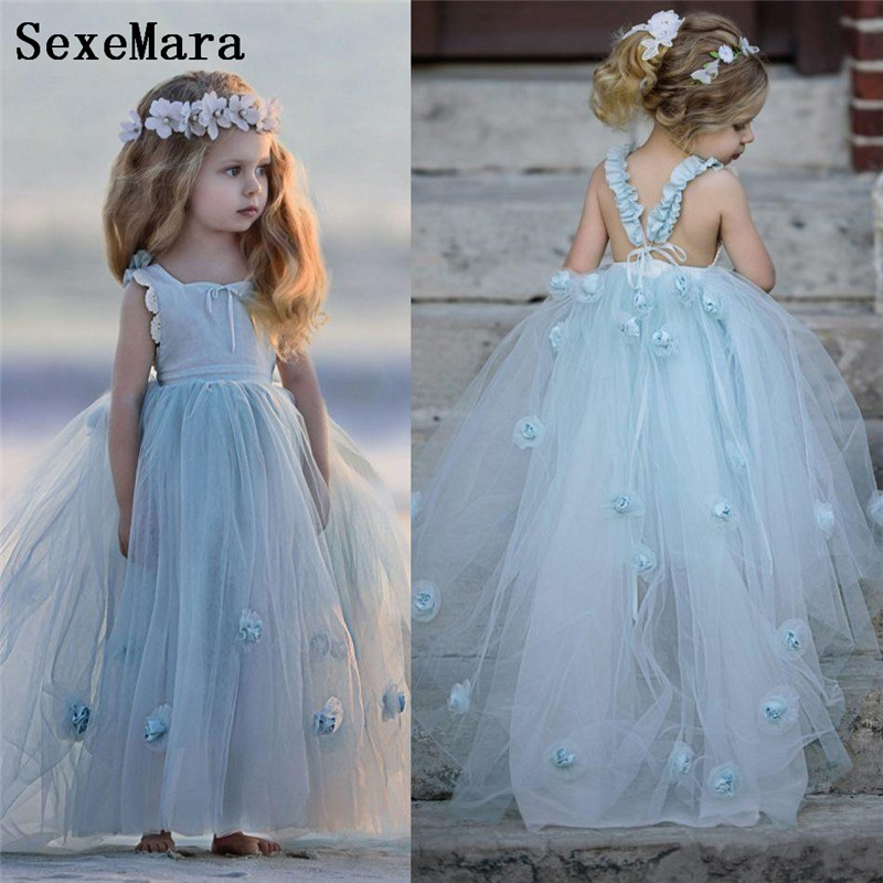 28e54a98bc Hand Made Flowers Girls Dresses For Weddings Square Neck Sleeveless First  communion Dress Puffy Tulle Birthday Party Gown