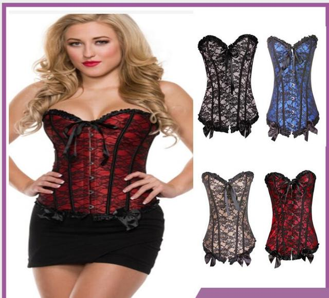 28839c805125b Waist Trainer Corsets Sexy Lace up Boned Overbust Corset Bustier Top Waist  Cincher Outfit Bodyshaper Top Plus Size G-string