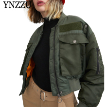 YNZZU 2019 Autumn Winter Green color Women Bomber Jackets Casual Oversize Zipper Warm Parkas Long sleeve cotton-padde Coat YO882