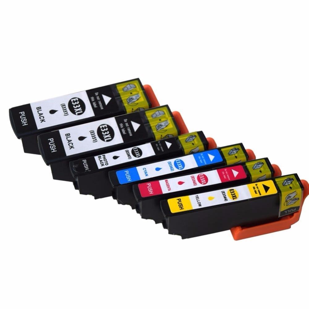 6x совместим с картриджами чернил Epson 33XL с высокой производительностью, совместимыми с Epson, зеркальная фотография, зеркальная фотография, зер...