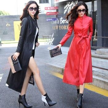 Veste En Cuir Coupe-vent Extra Longue Femme Grande Taille 3XL 4XL 5XL Gris Mode De Rue Col Montant Gris Automne Manteau AS6701