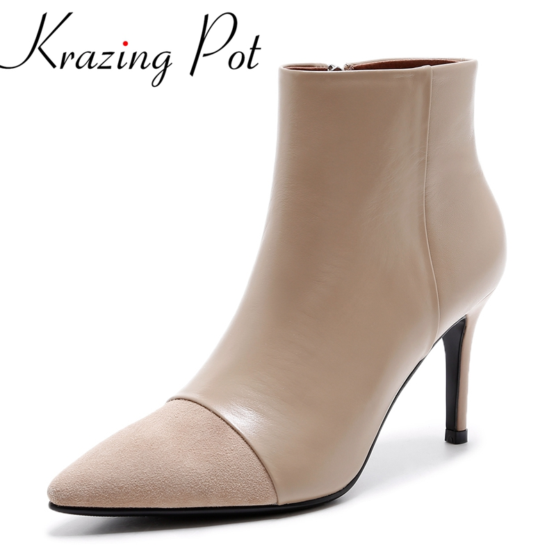 Krazing Pot genuine leather pointed toe fashion winter shoes runway zipper concise superstar high heel women ankle boots L83 gubintu genuine crazy horse leather men wallet short coin purse small vintage wallets brand high quality designer carteira