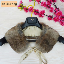 Jin Li Di Ang Unisex Natural Real Rabbit Fur Collar Man Women's General All-match Genuine Leather Fur Collar Scarves for Women(China)