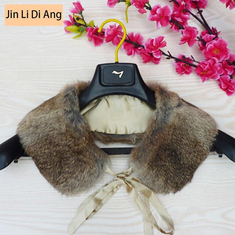 Jin Li Di Ang Unisex Natuurlijke Echt Konijnenbont Kraag Man Vrouwen Algemene All-match Echt Leer Bontkraag Sjaals Voor Vrouwen Geurige (In) Smaak
