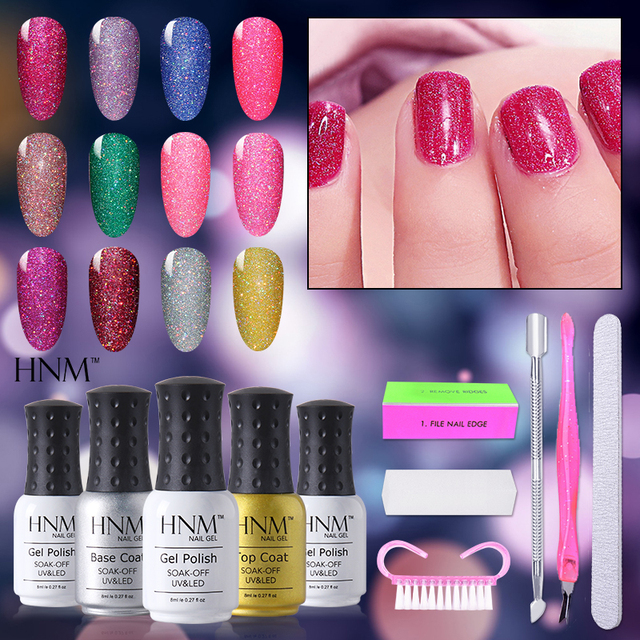 Hnm Nail Art Tool Soak Off Bling Neon Polish Set 3pcs Gel 1