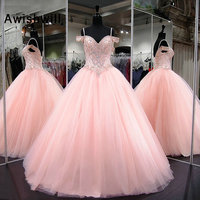 Long Quinceanera Dresses Ball Gown Off The Shoulder Sweet 16 Dress Crystal Beaded Tulle Debutante Gowns Vestidos de 15 Anos