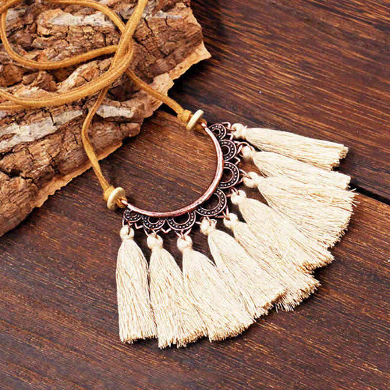 New Ethnic Tassel Long Necklace Women Fashion Jewelry Leather Rope Chain Silk Fabric Boho Choker Collana Donna Colares Feminino