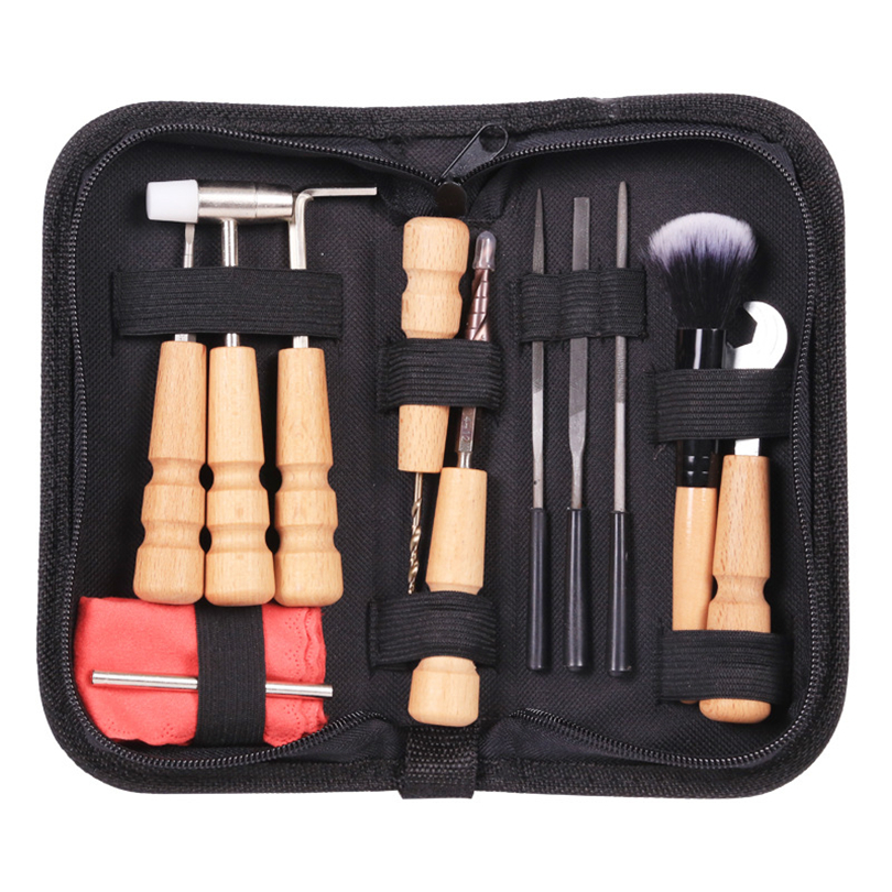 Ensemble de sac d'outils de guitare Kit de fichier de réparation de guitare fichiers d'écrou règle Turner jauge outil de mesure enrouleur de chaîne 11 pièces/ensemble