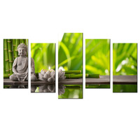 Modern Canvas Wall Art 5 Panels Paintings For Living Room Home Decor Buddha Green Bamboo Stones