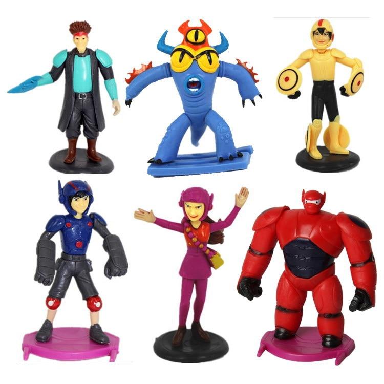 6pcs/set 8-10cm Super Heros Big Hero Baymax Action Figure Toy Baby Kids Gifts