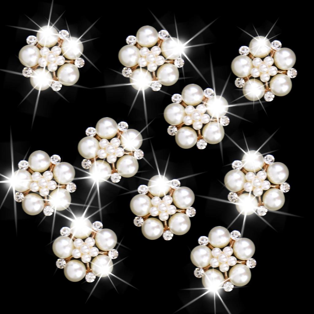 Nishine 5PCS Flower Pearls Rhinestones Buttons Metal Wedding Invitations Decorate Button Trinket Hair Flower Center Accessories