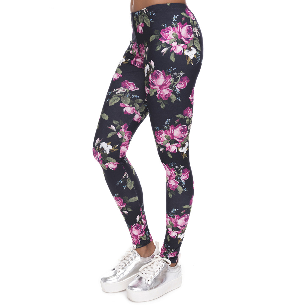 New Women   Leggings   Retro Roses Printing Fitness   legging   Elegant Sexy Elasticity Leggins High Waist Legins Trouser Pants