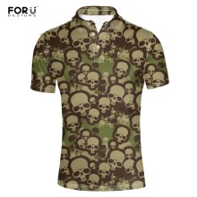 FORUDESIGNS  Shirt Men Fashion Skulls Printing Summer Mens Clothing Male Big Plus Size Short Sleeve Shirts for 2018 New
