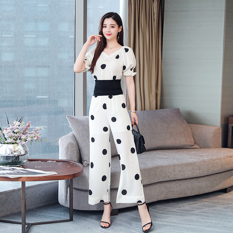 Summer Dot Print Two Piece Sets Outfits Women Plus V-neck Short Tunics Tops And Wide Leg Pants Suits Elegant Ladies 2 Piece Sets 32