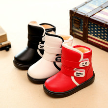 Фотография Children Shoes Boys Girls Snow Boots Winter Cotton Waterproof Boot Kids Shoes for Girl Boy Child Warm Baby Boots 2017