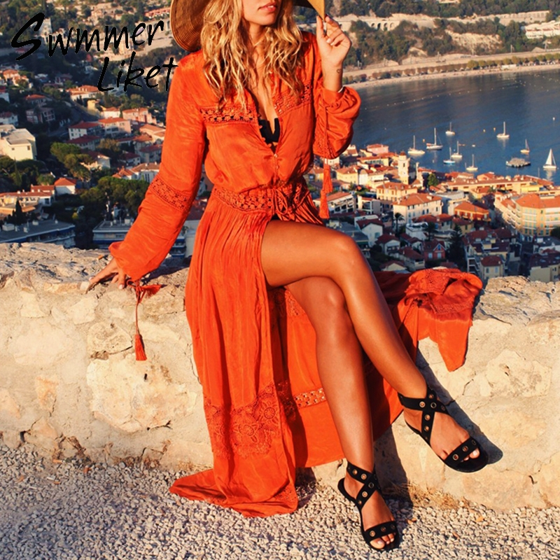 Summer 2019 Long beach dress women cover up Tassel buttons bikini cover-ups Sexy beach wear lace v-neck swimsuit tunic srong new