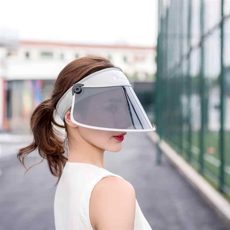 da4c75a5efb New Windproof PVC Hats Sunshade Caps Topless Empty Sun Visor Caps UV  Protection Hat Riding UV