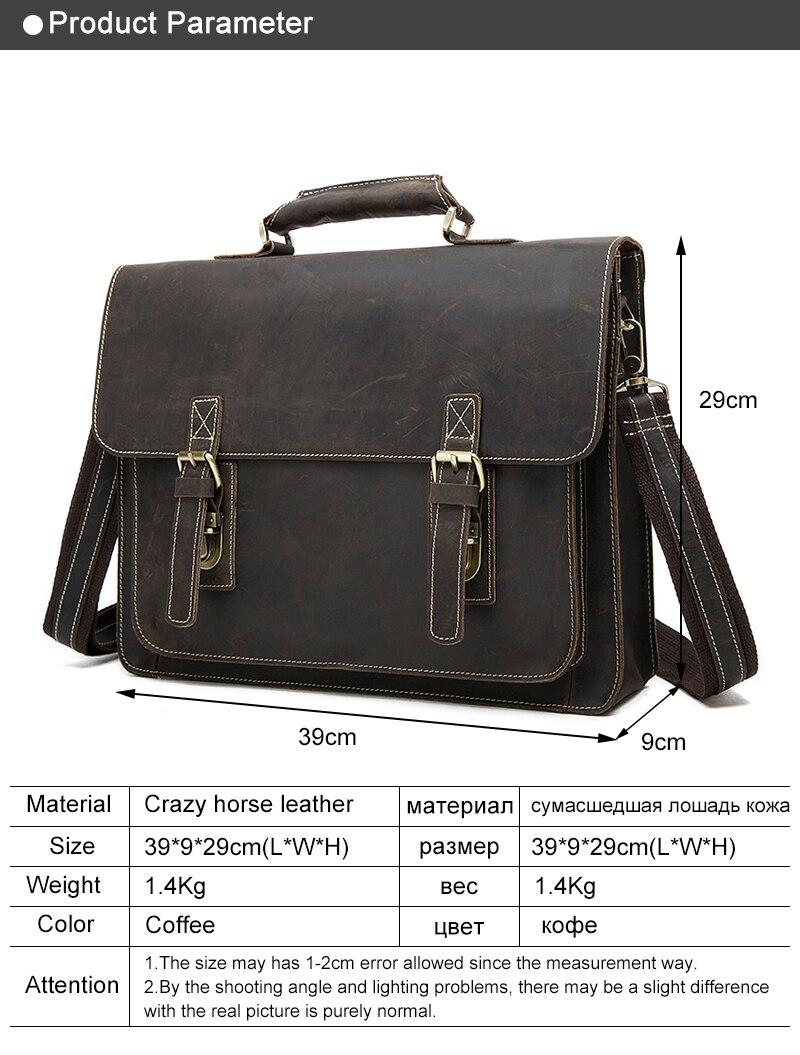 Business Men Briefcase Crazy Horse Genuine Leather Men Bag Handbags Totes Vintage laptop bag Male Shoulder bags 01 (1)