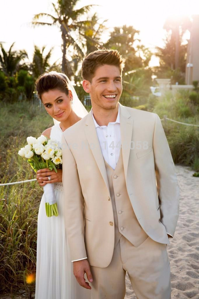 New 2017 Beige Men Suits Beach Wedding Tuxedos For Men Custom Made ...