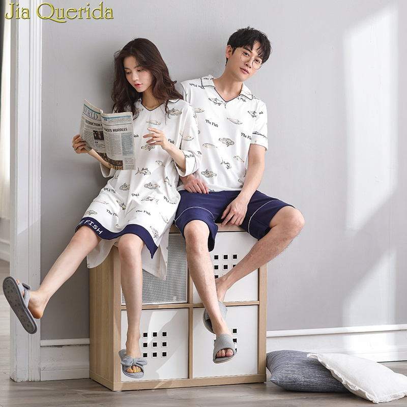 J&Q Men And Women Nightwear 2019 Summer New Shorts Cute Fishes Print Cotton 2 Pieces & Gown Leisure Couple Matching Pajamas Suit