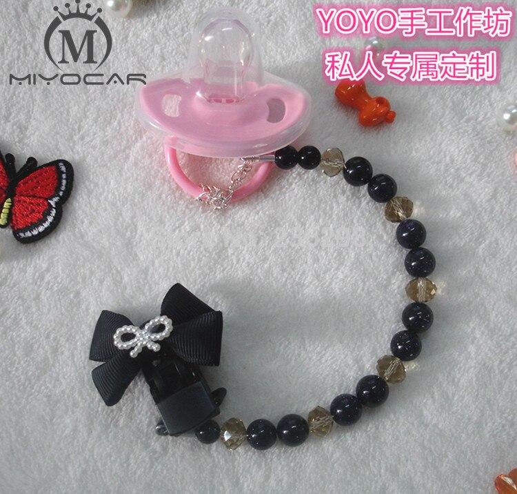 MIYOCAR Nuevo Hecho a mano ligero negro Crystalin beads dummy clip titular chupete clips para bebé DC013