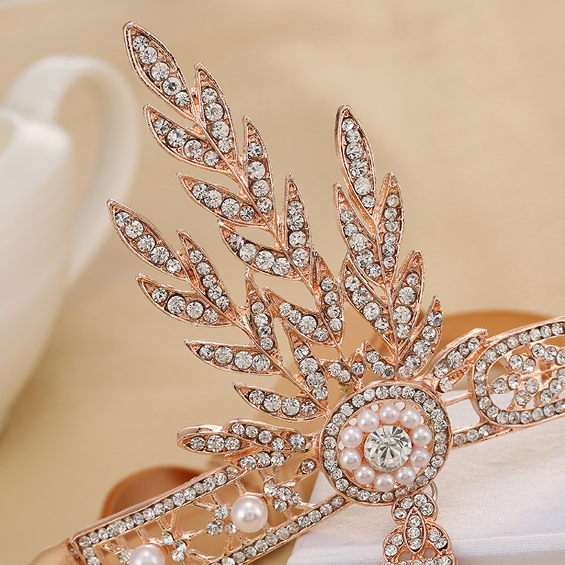 Wedding Hair Accessories 1920s Great Gatsby Headbands Crystal Rhinestone Leaf Headpieces Bridal Pearl Rose Gold Color Tiara