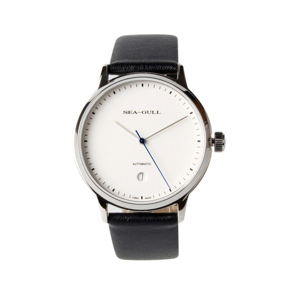 간단한 스타일 정품 갈매기 10mm 얇은 화이트 다이얼 날짜 사파이어 크리스탈 st2130 운동 자동 남자 드레스 시계 819.12.5038-에서기계식 시계부터 시계 의  그룹 1