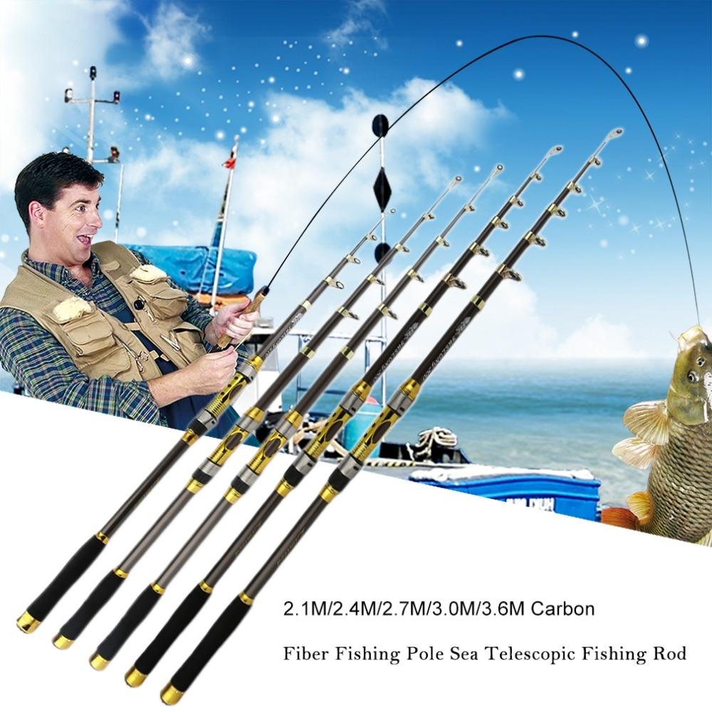 Portable telescopic fishing rod carbon fiber trout carp for Ocean fishing pole