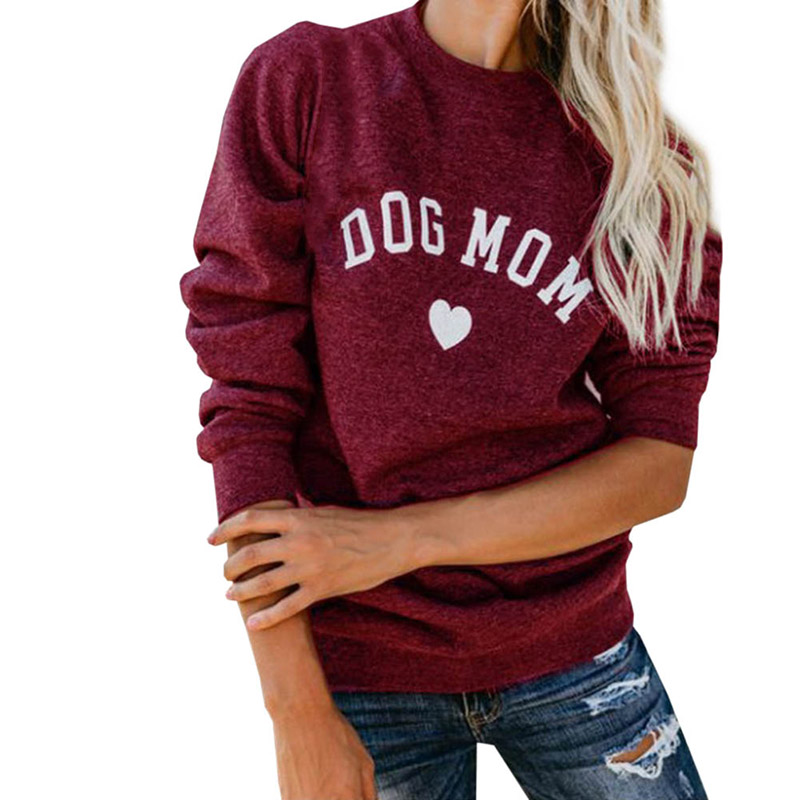 Drop Shipping DOG MOM Funny Letter Print Sweatshirt For Women Full Sleeve Casual Tops Female Autumn Clothes Feminina Sweatshirts
