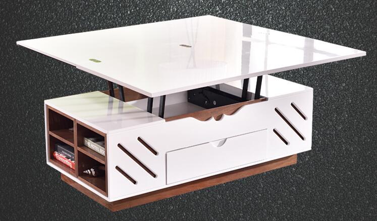 Подъема закаленное стекло чай поверхности стола. Лак, что испечь телескопическая складная Многофункциональный чайный столик.