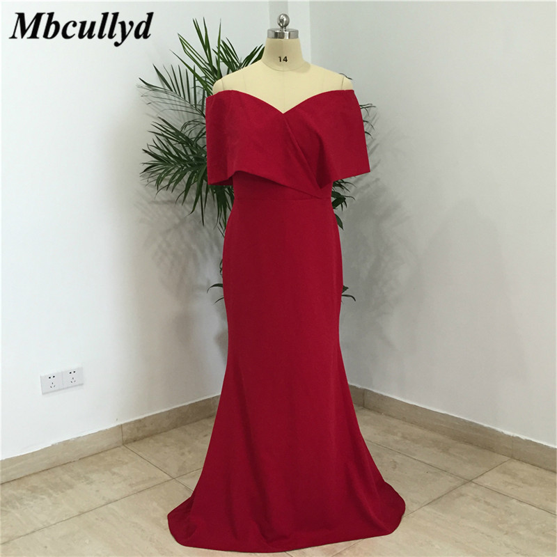 Mbcullyd Dark Red Chiffon   Bridesmaid     Dresses   2019 Sexy Off Shoulder Backless Long Party   Dress   Maid Of Honor Gowns Plus Size