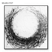 Hand-painted High Quality Abstract Black and White Acrylic Painting Thick Paints