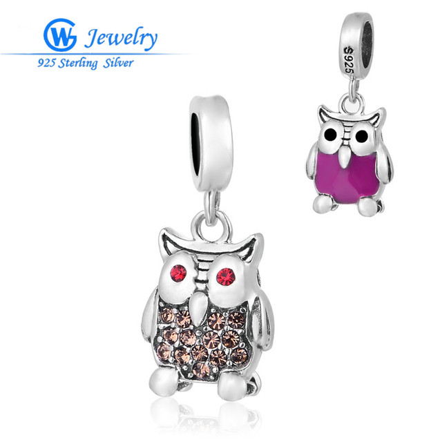 GW Fine Jewelry Owl Pendant 925 Sterling Silver Cz Crystal Paved Charms Fits Statement Necklaces & Bracelets S247H20
