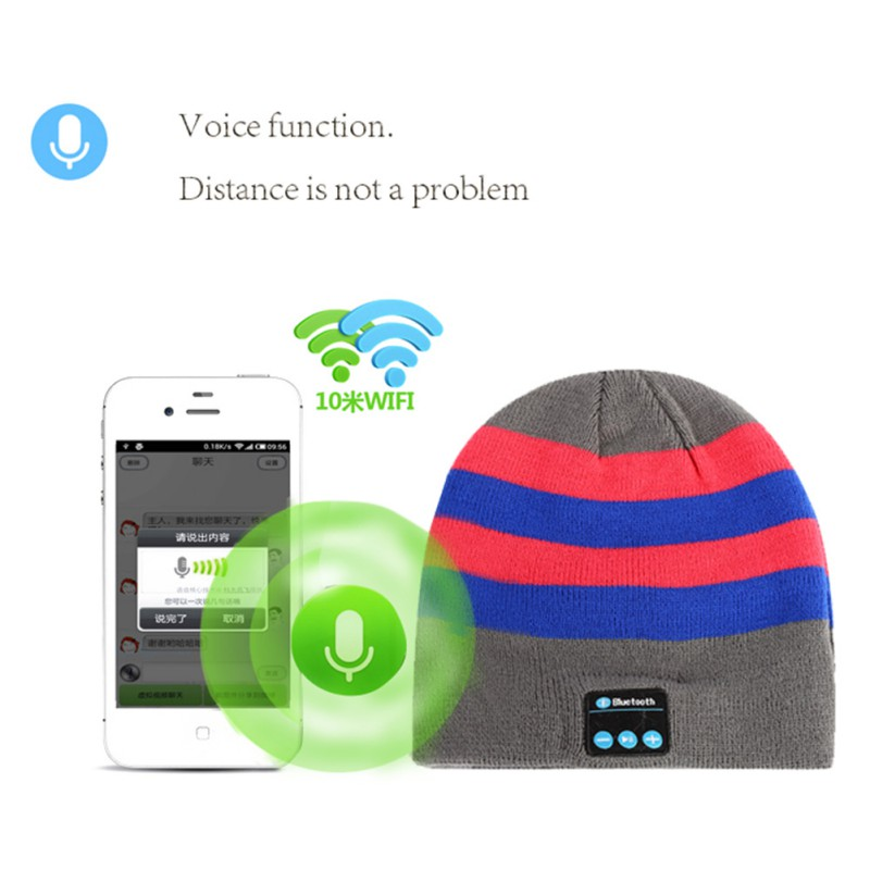 New Hot Smart Warm Soft Casual Hat Wireless Bluetooth Cap Headphone Headset Speaker Unisex