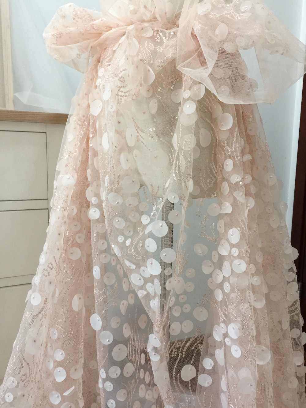 off white weeding fabric Exquisite 3D laser cut blossom flowers lace fabric by yard