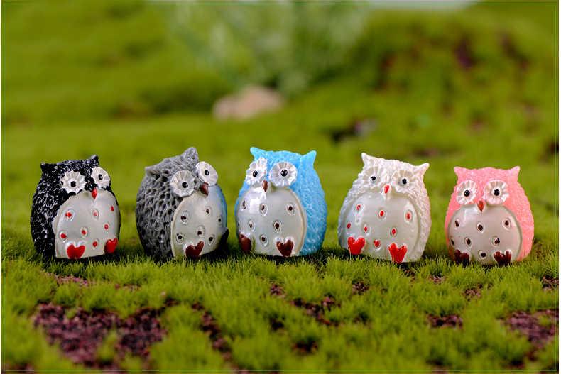 5PCS Owl Figurine Miniature Decoration Mini Fairy Garden Animal Statue Resin Craft Home Micro Landscape Decoration