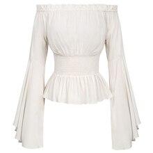 355227b71 Camisa Renascimento Gótico Vitoriano Medieval Retro das mulheres Rapariga  fora do ombro Camponês Blusa Menina de Manga Comprida .