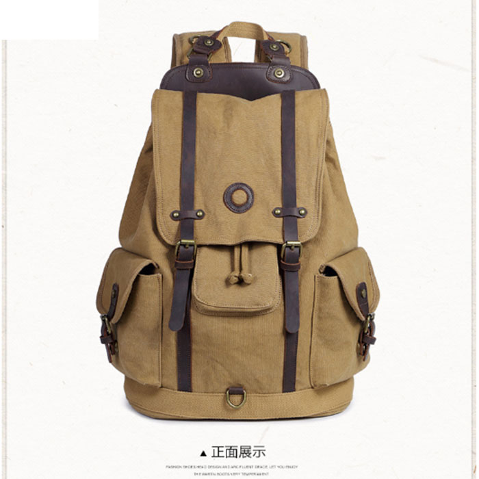 Retro Men Male canvas College School Student Backpack Casual Rucksacks Travel Bag Laptop bags female bags Khaki/ArmyGreen/black men genuine leather fashion travel university college school bag designer male coffee backpack daypack student laptop bag 1170c