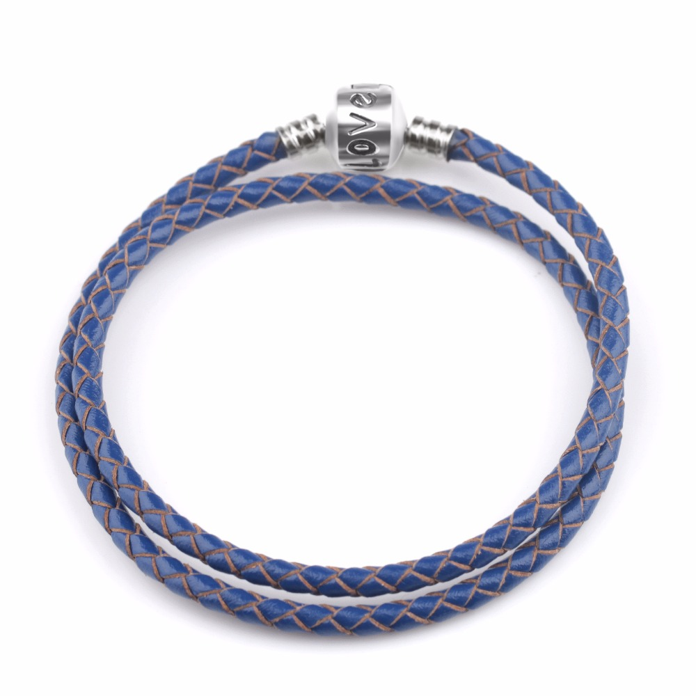 4 Colors Handmade Braided Leather <font><b>Bracelet</b></font> for Women Charm <font><b>Bracelets</b></font> Pulseira DIY Fit <font><b>Pan</b></font> <font><b>bracelet</b></font> Christmas Gift image
