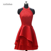 ruthshen Plus Size Mother of the Groom Dress Custom Helter Lace Satin Aline Knee Length Dress Mother Of The Bride Dresses