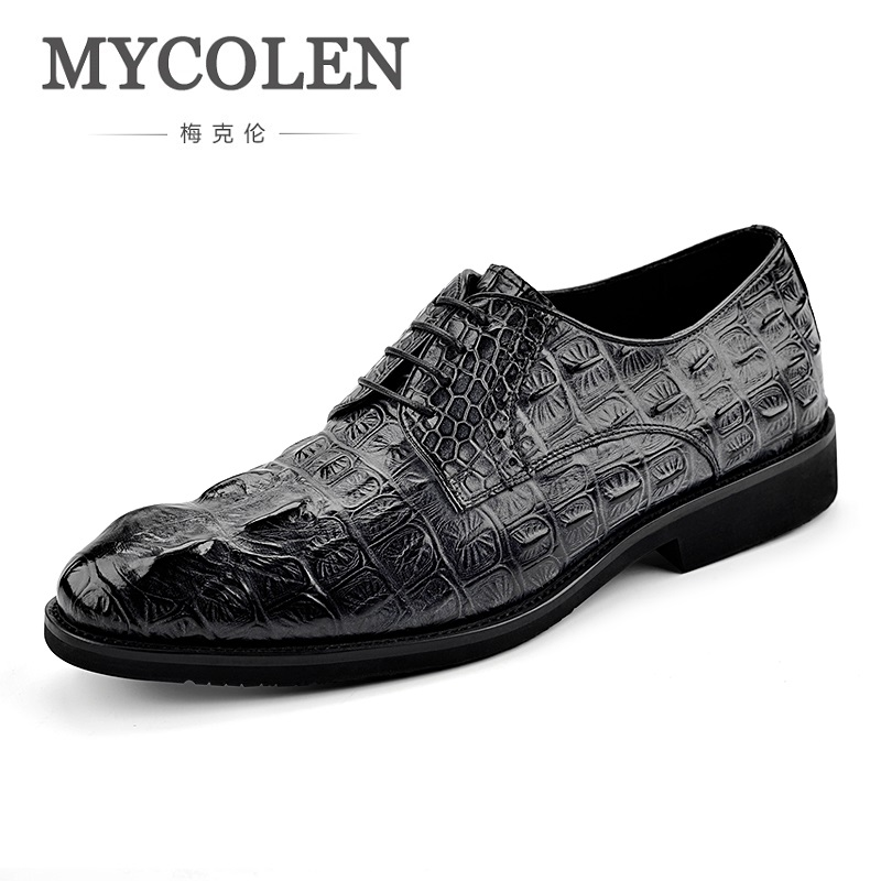 MYCOLEN Hot Sale High Quality Derby Shoes Men Crocodile Pattern Shoes Lace-Up Business Dress Shoes Male Social Formal Shoes mycolen 2018 high quality business dress men shoes luxury designer crocodile pattern formal classic office wedding oxfords