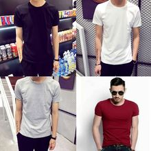 4 Colors Mens Trendy Short Sleeve T-Shirts Classic Basic Solid Color Workout Sports Blouse Casual Slim Fit O-Neck Pullover Tops