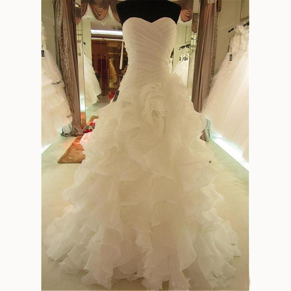 Romantic Ruffled Organza Sweetheart Neckline Asymmetrical Real Images Sheath Sweep Train Wedding Dresses Lace Up Wedding Gowns