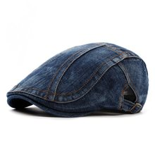 7cd3b4528e6 Women Denim Washed Flat Beret Gorras Planas Newsboys Duckbill Cap Vintage  Cowboy Berets Ivy Cabbie Caps Hat Adjustable Size