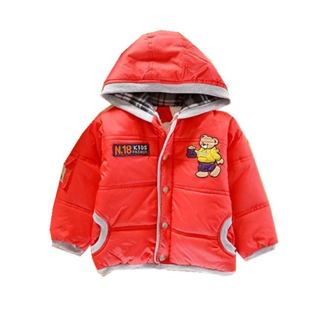 Casaco Menino Jaqueta de Inverno Com Capuz Crianças Meninos Roupa do Bebê Recém-nascido Menino Urso Dos Desenhos Animados Cor Vermelha Grossas Quentes Jaquetas Outwear