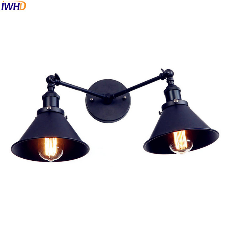 IWHD 2 Heads Retro Edison LED Wall Lights For Home Lighting Adjustable Arm Industrial Vintage Black Wall Sconce Applique Murale brass glass wall lights led vintage edison american home stair lighting living room adjustable arm industrial wall lamp sconce