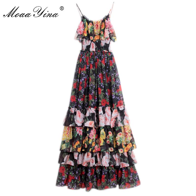 MoaaYina Fashion Designer Runway Dress Summer Women Floral Print Spaghetti strap Elastic waist Cascading Ruffle Vacation