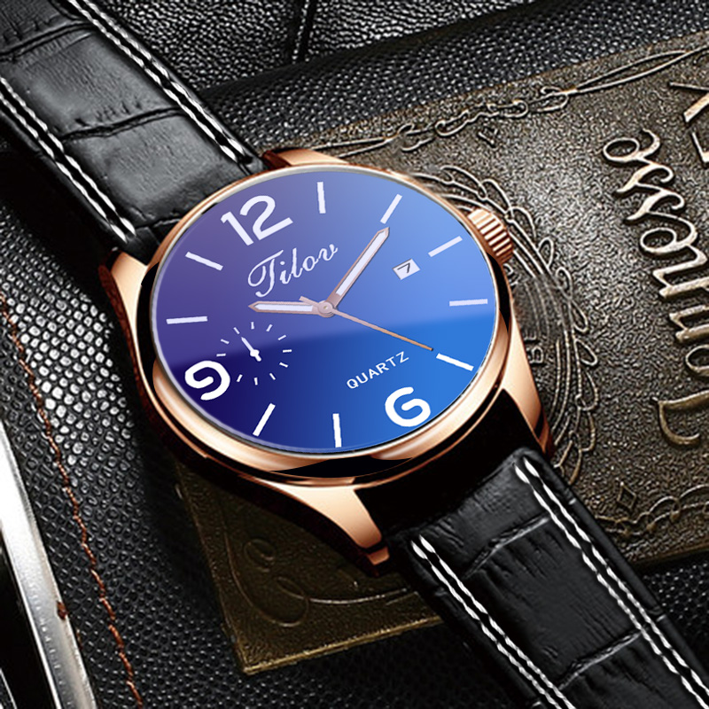 2018 Men's Watch Personality Waterproof Calendar Wristwatches Leather Men Quartz Watches Round Buckle Alloy Simple Black Casual 5